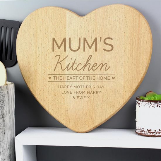 Personalised 'Heart of The Home' Wooden Chopping board - Grey Background