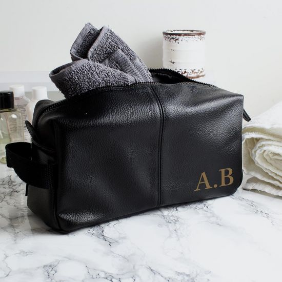 Personalised Black Leather Wash Bag - Grey Background