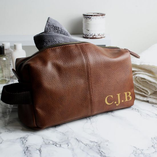 Personalised Tan Leather Wash Bag - Grey Background
