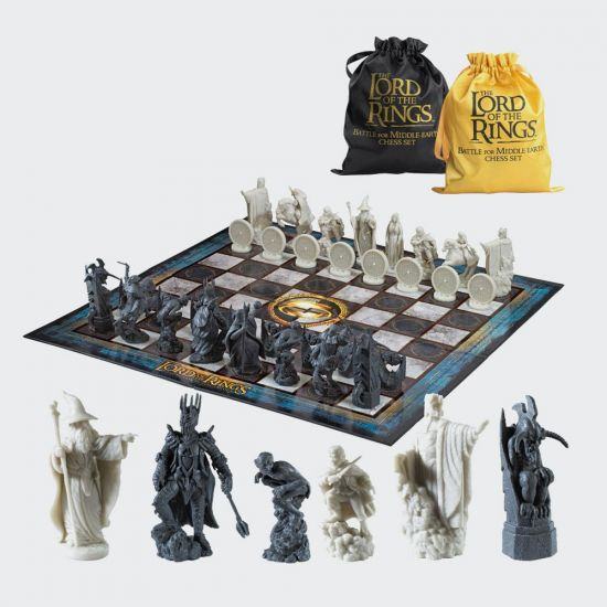 LOTR Battle For Middle Earth Chess Set on grey background