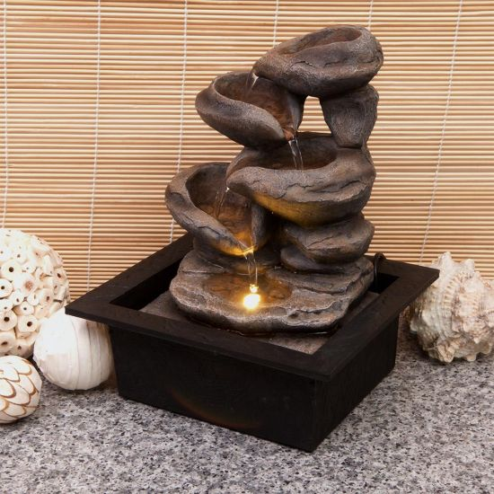 Cascading Stone Bowls Fountain - grey background