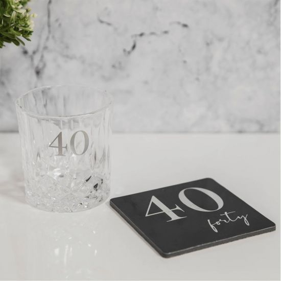 Cut Glass Whisky Tumbler and Coaster – 40th Birthday