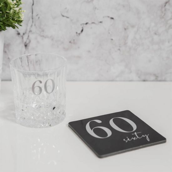 Cut Glass Whisky Tumbler and Coaster – 60th Birthday