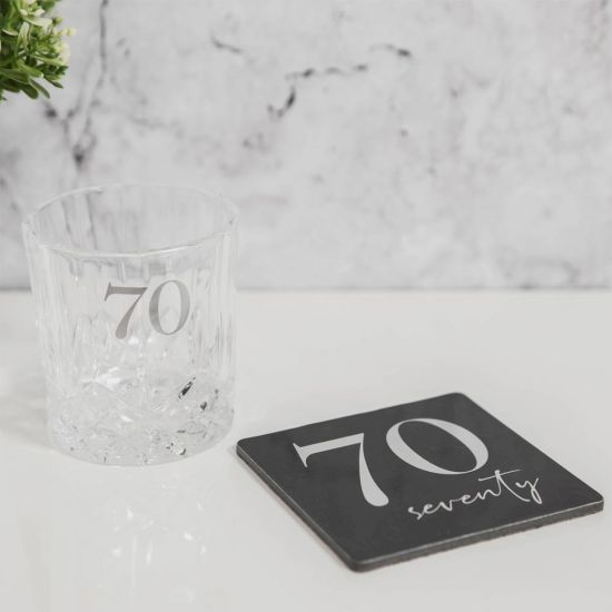 Cut Glass Whisky Tumbler and Coaster – 70th Birthday