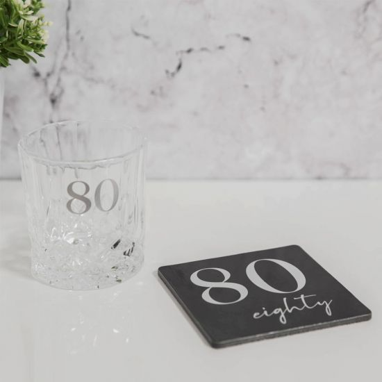 Cut Glass Whisky Tumbler and Coaster – 80th Birthday