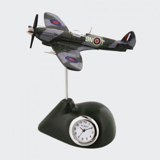 WILLIAM WIDDOP® Miniature Clock - RAF Spitfire - grey background