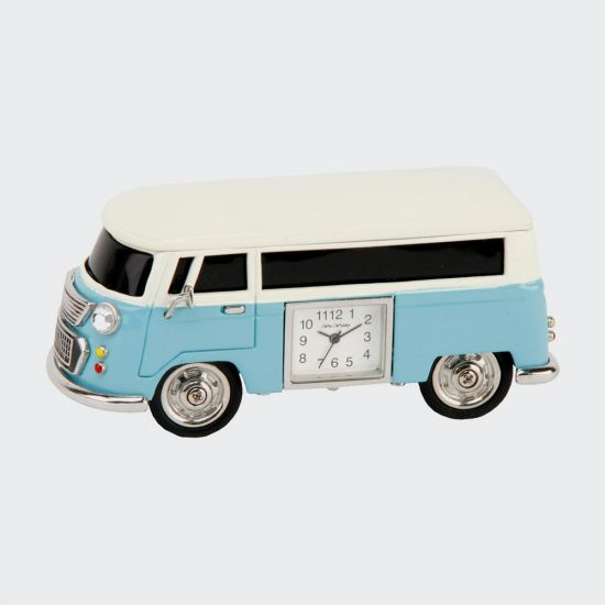 WILLIAM WIDDOP® Miniature Clock - Blue Campervan - grey background