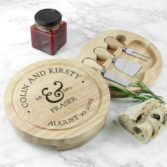 Personalised Married Couples' Classic Cheese Board Set - Grey Background