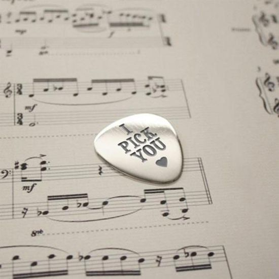 Personalised 'I Pick You' Plectrum - Grey Background
