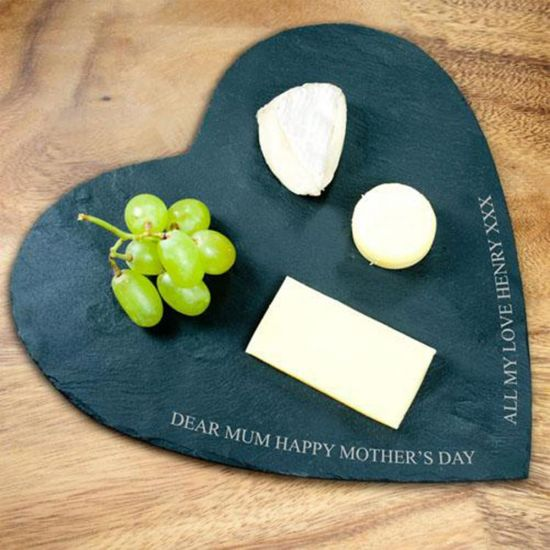Personalised Heart Slate Cheese Board - Grey Background