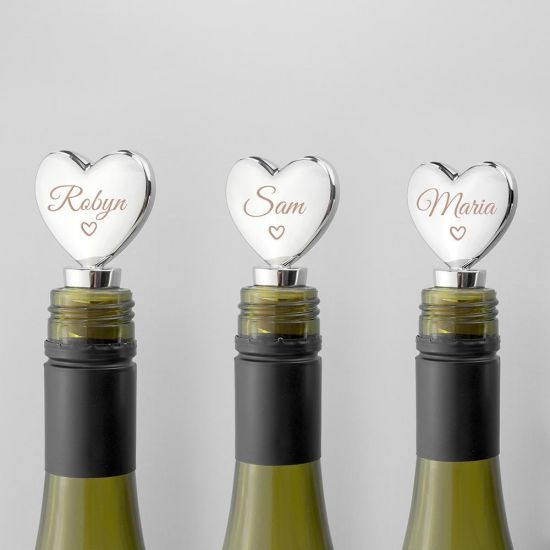 Personalised Love Heart Silver Plated Bottle Stopper - Grey Background