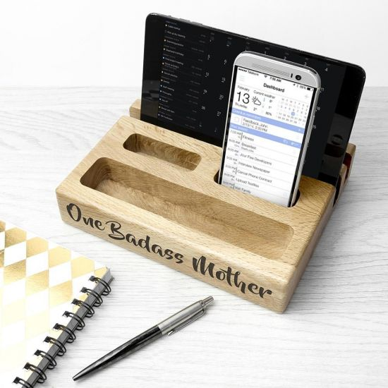 Personalised Multi Tablet and Phone Holder - Grey Background