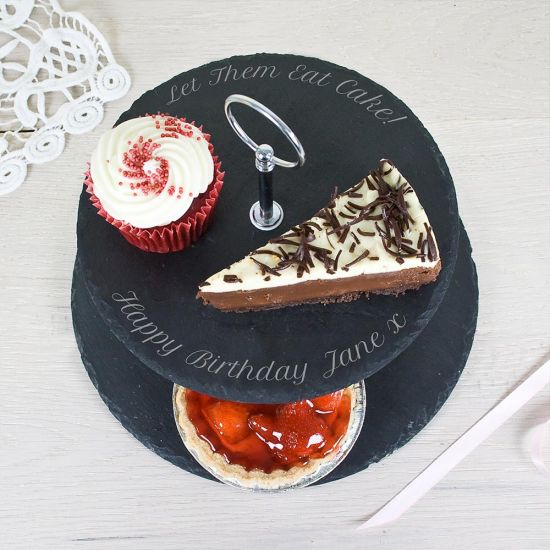 Personalised Two-Tier Slate Cake Stand - Grey Background