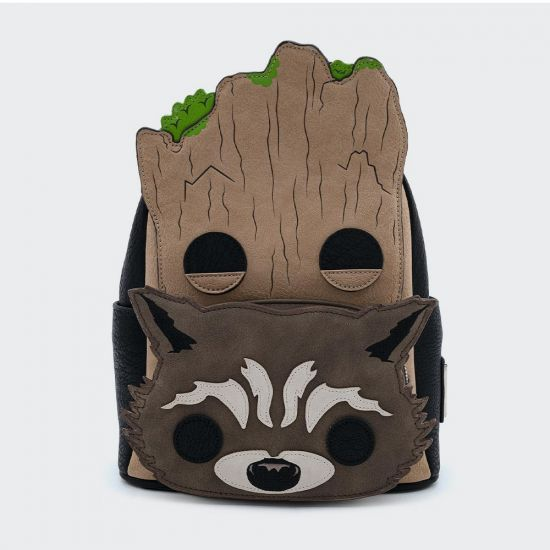 Marvel Groot and Rocket Loungefly Mini Backpack - grey background