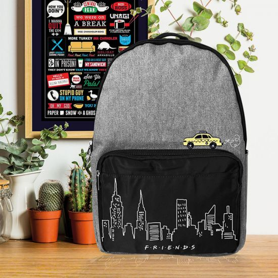 Friends Denim Backpack with Skyline and Taxi Design