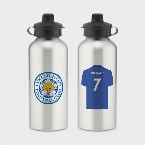 Personalised Leicester City FC Aluminium Water Bottle - Grey Background