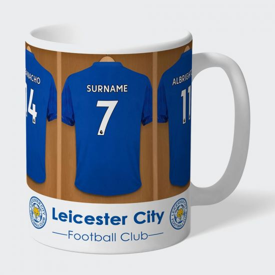 Personalised Leicester City FC Dressing Room Mug - Grey Background