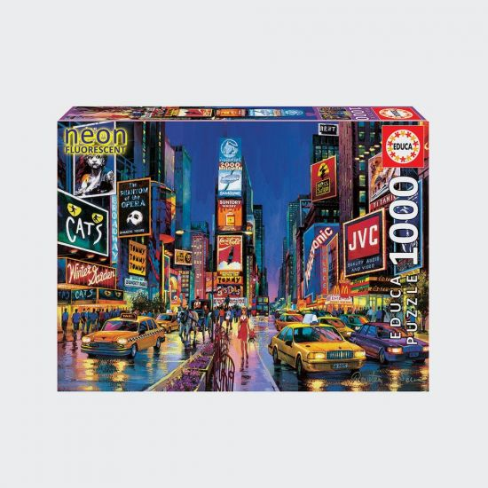Educa 1000pc Neon Times Square NY Jigsaw Puzzle - grey background