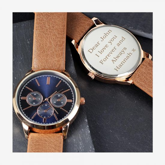 Personalised Rose Gold Watch with Brown Strap