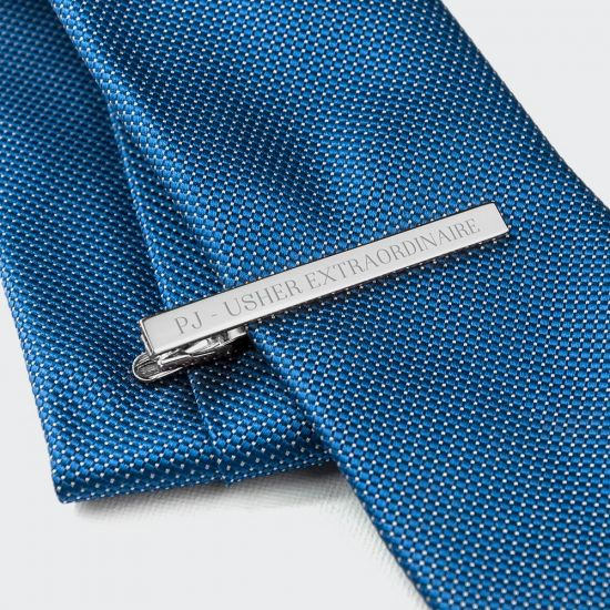 Personalised Rhodium Plated Tie Clip - grey background