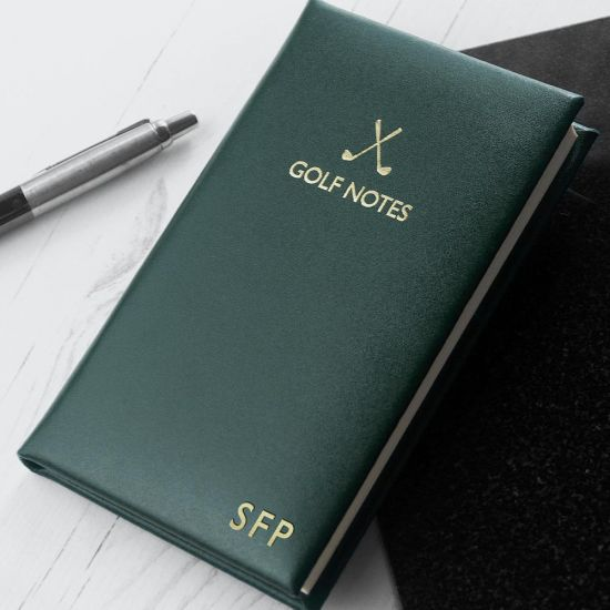 Personalised Luxury Leather Golf Notebook - Green - lifestyle