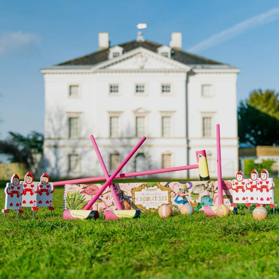 Queen of Hearts Flamingo Croquet - lifestyle