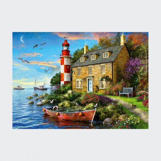 Falcon Lighthouse Cottage 1000pce Puzzle on grey background