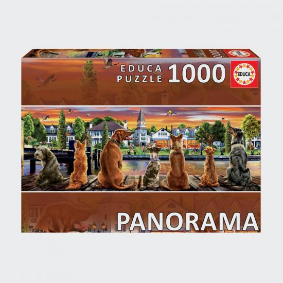 Dogs On The Quay - Panorama 1000pc Educa Jigsaw Puzzle on grey background