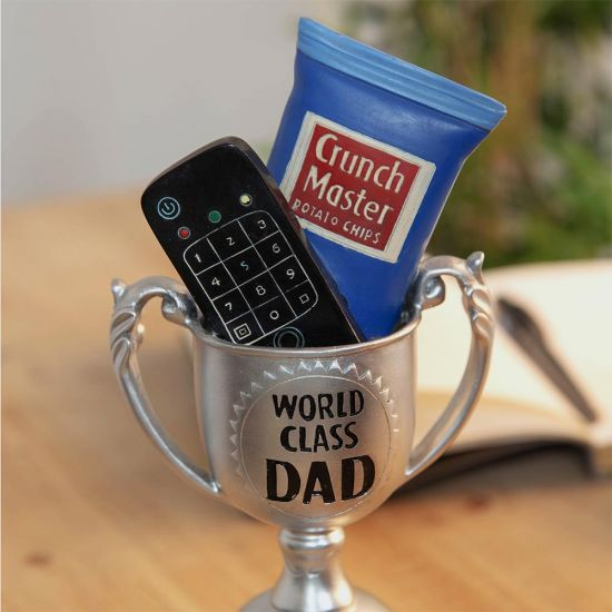 World Class Dad #1 Armchair Athlete Trophy - grey background