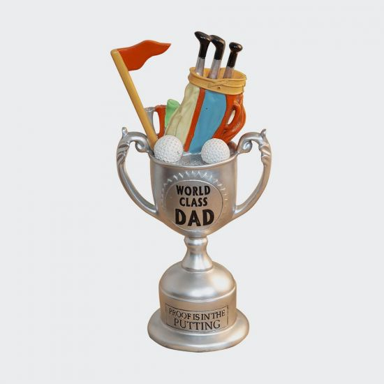 World Class Dad Proof Is In The Putting Trophy - grey background