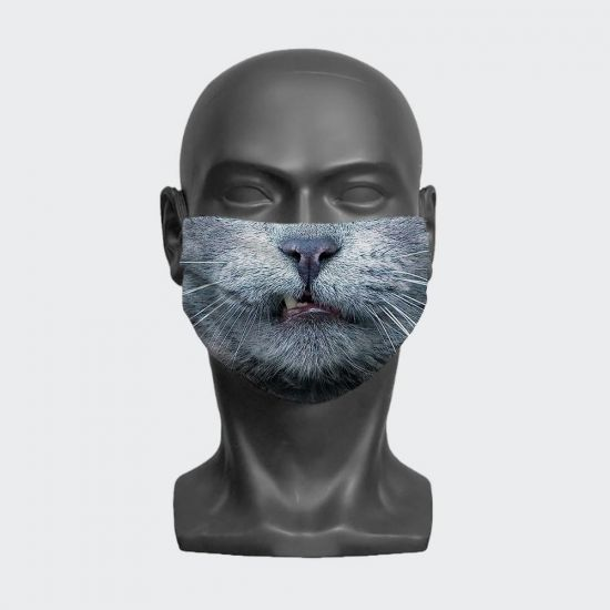 Cat Growl Face Mask - grey background