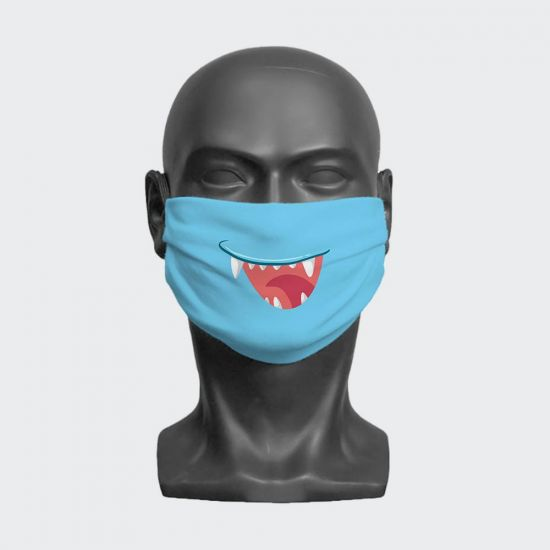 Blue Cartoon Monster Mouth Face Mask - grey background