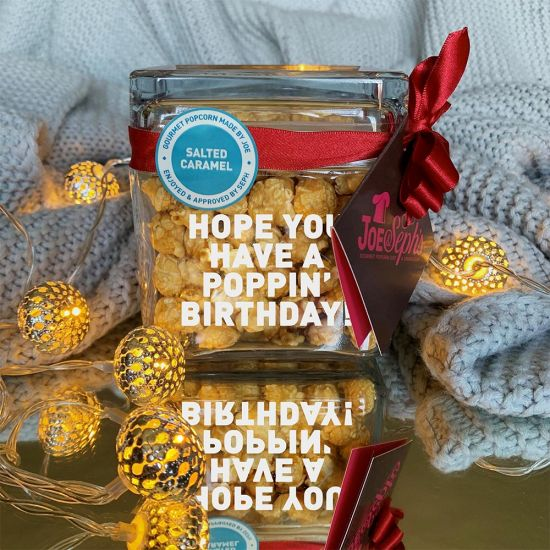 Personalised Popcorn Square Glass Jar by Joe & Seph's