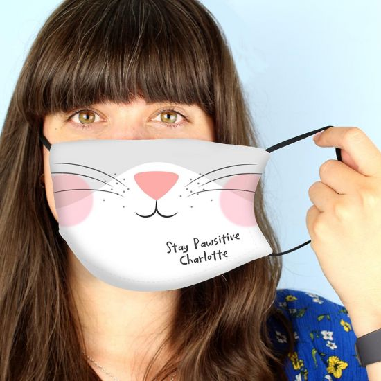 Personalised Cat Face Mask with 2 Filters - lifestyle