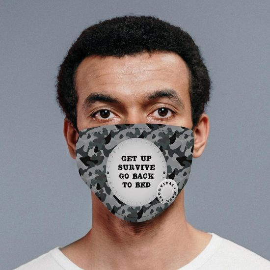 Personalised Grey Camo Face Mask with 2 Filters - lifestyle