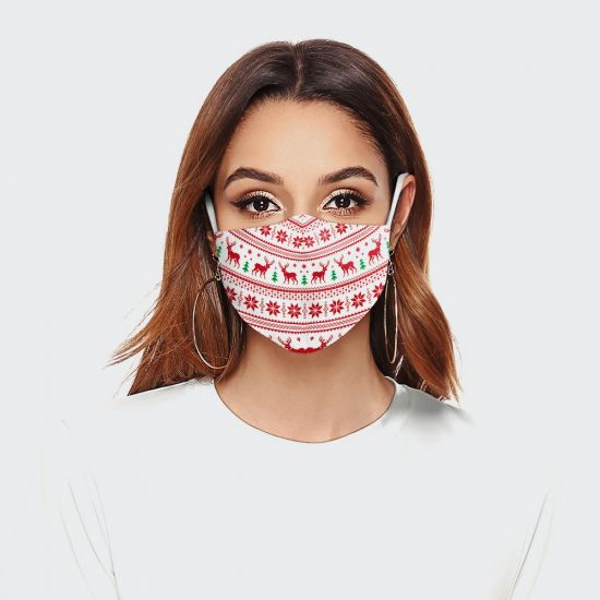 Red Christmas Pattern Face Mask