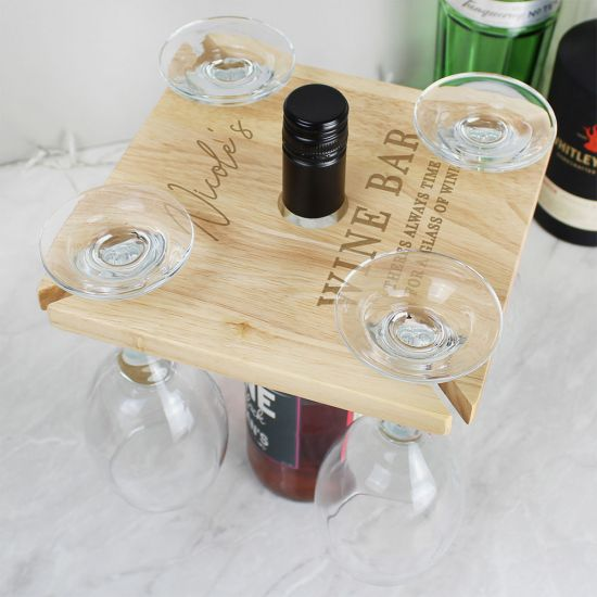 Personalised Wine Glass Holder and Bottle Butler
