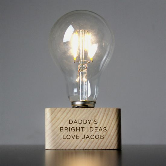 LED Bulb with Personalised Wooden Base