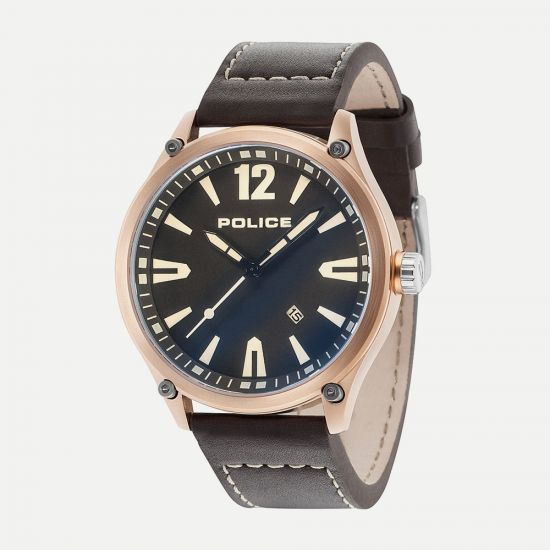 Police Denton Brown Leather Black Dial Watch