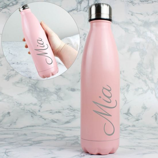 Personalised Metal Insulated Drink Bottle – Pink
