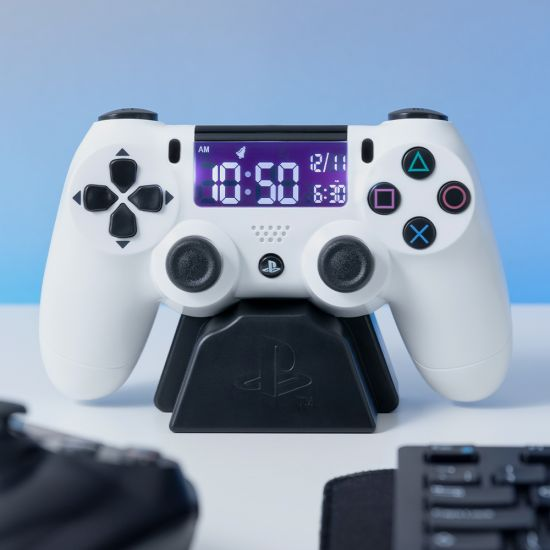 PlayStation Controller Alarm Clock in White