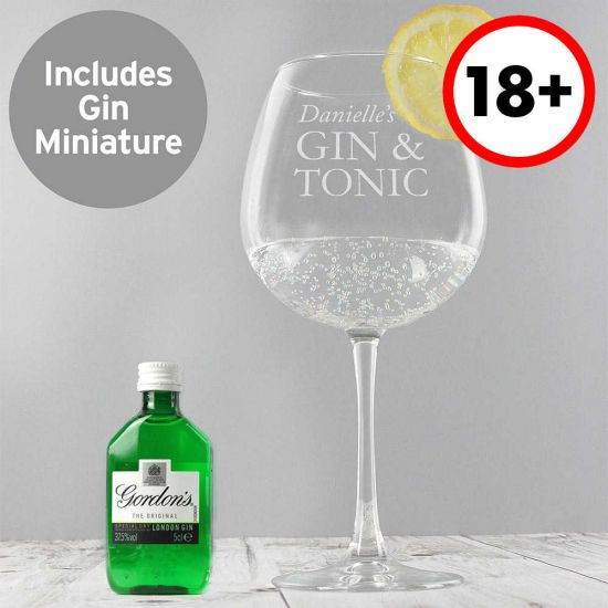 Personalised Gin & Tonic Balloon Glass and Mini Gin Set