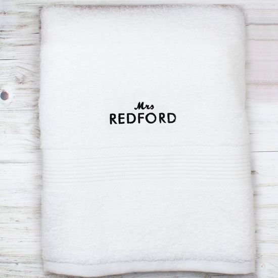 Personalised 'Mrs' White Bath Towel