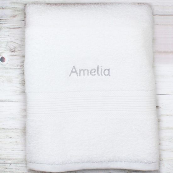 Personalised White Bath Towel - Grey Embroidery