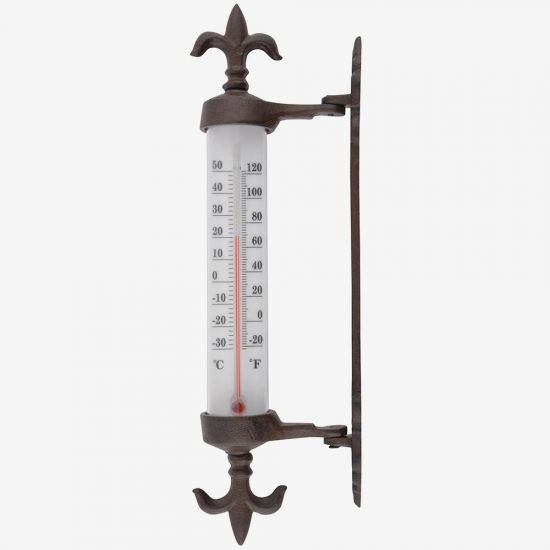Brown Cast Iron Fleur-de-lis Wall Thermometer