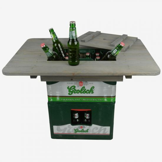 Beer Crate Party Table with open lid and beers