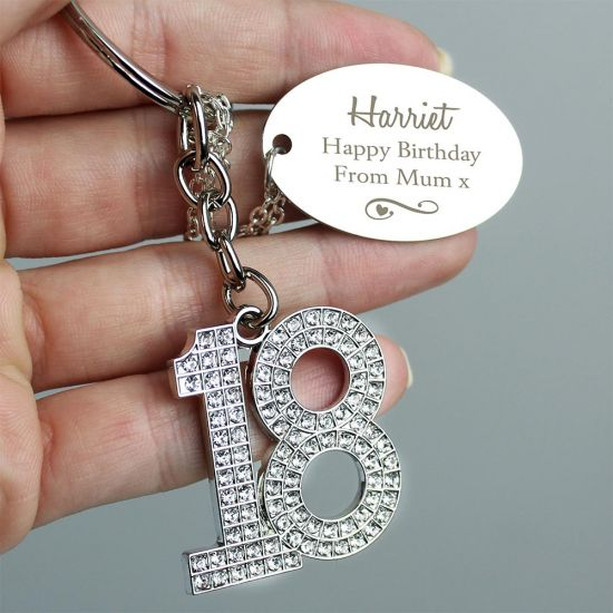 Personalised 18th Swirls and Hearts Diamante Keyring