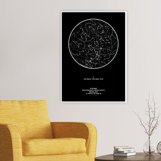 black star map on a wall in lounge with armchair