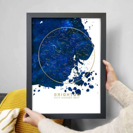 Personalised Star Map - Blue with Gold Foil