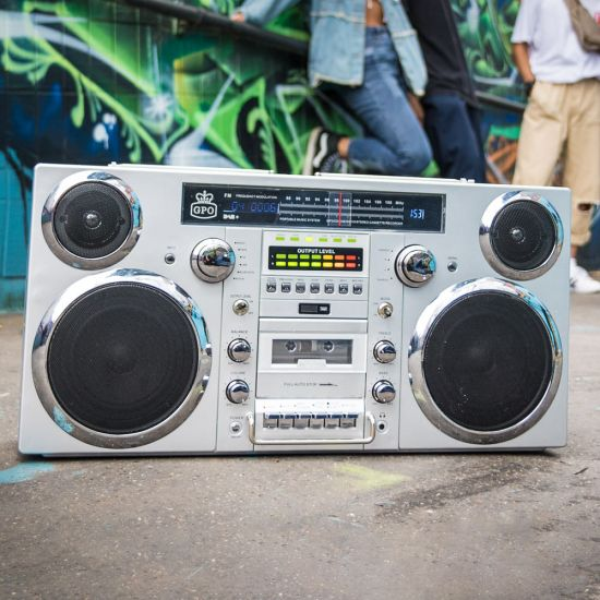 GPO Brooklyn Boombox on a street with colourful graffiti in the background